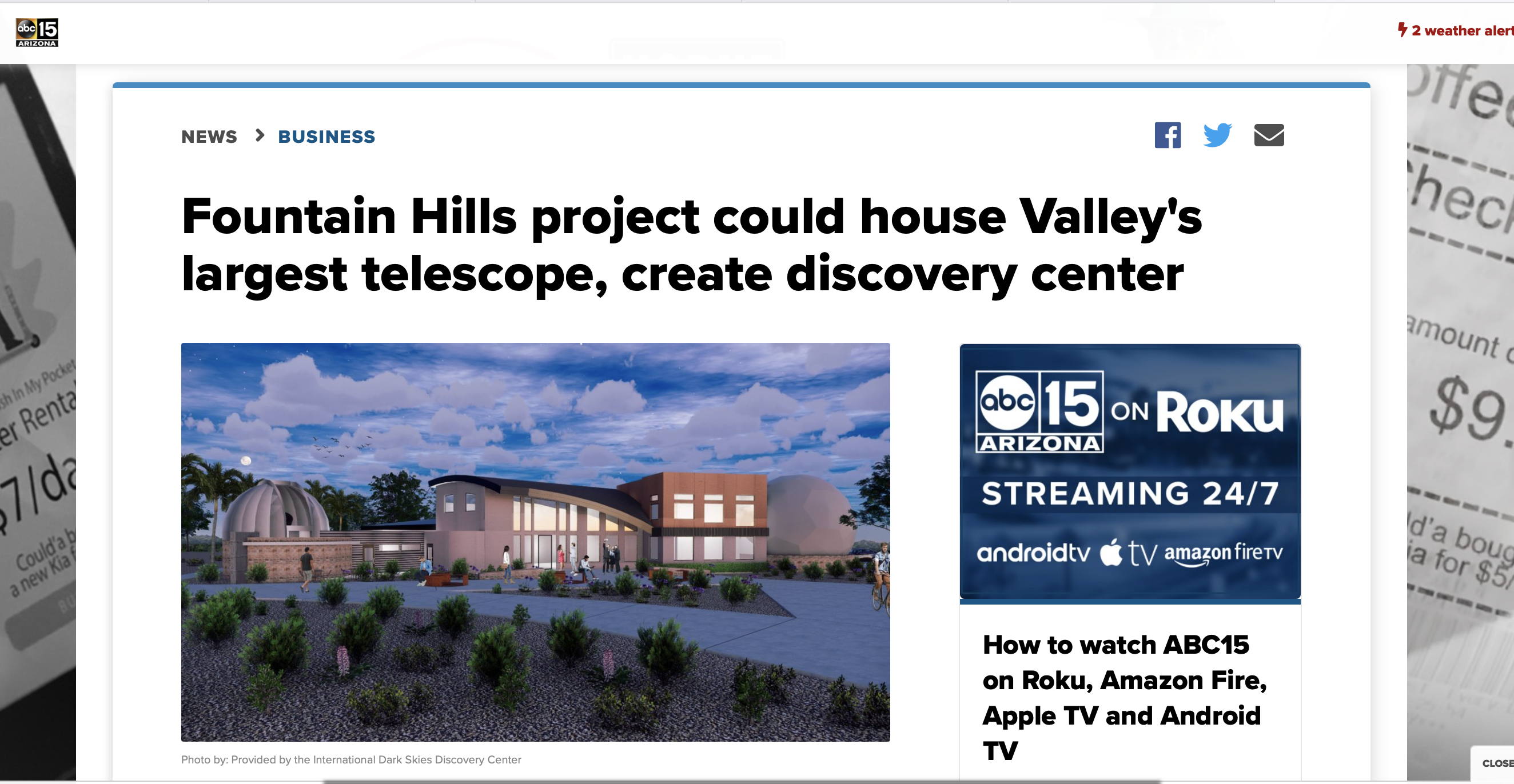 Fountain Hills project could house Valley's largest telescope, create discovery center